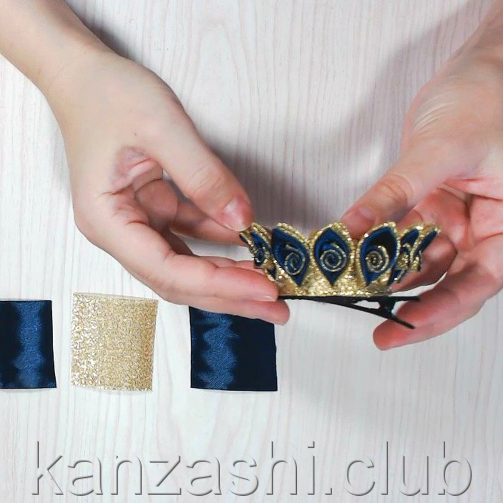 Делаем красивые короны и шляпку в технике канзаши