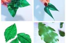 Листики к цветам канзаши из атласных лент
